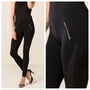 Francesca's Black Quinn Zipper Ponte Leggings